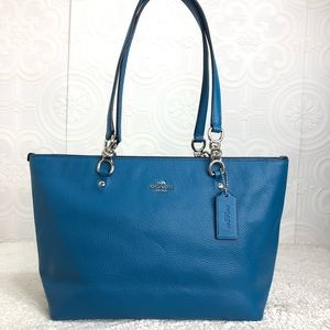 🌸OFFERS?🌸Coach Pebbled Leather Blue Purse